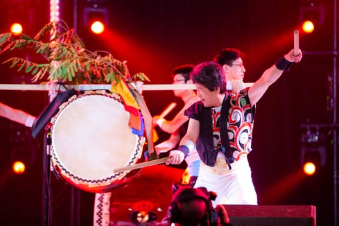 "Taiko drummers and other musicians perform ""Sounds from Japan"" as part of Bainbridge Performing Arts' cultural outreach program Feb. 28."