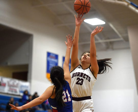 Flour Bluff faces Mission Veterans Memorial in a playoff game, Friday, Feb. 21, 2020, in Kingsville. Flour Bluff won, 43-39.