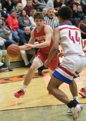 Piketon's Levi Gullion dribbles the ball during 56-50 loss to Zane Trace in a D-III Sectional Final on Friday Feb. 21, 2020 in Waverly, Ohio.