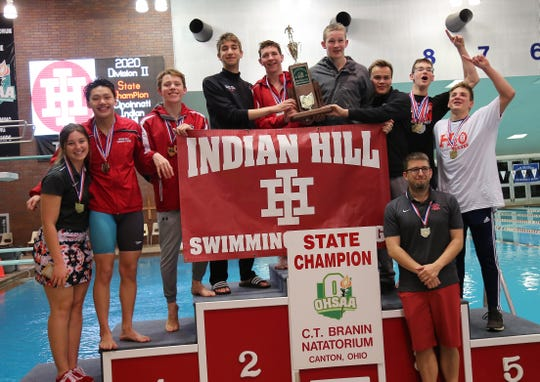 The Indian Hill boys celebrate their win of the team title at the Ohio state swimming and diving tournament on Friday, Feb. 21, 2020.