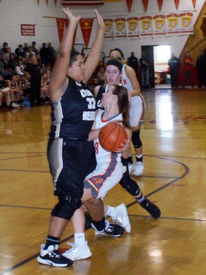River View's Aaliyah Better plays defense on Indian Creek's Ally Tweedy during last season's sectional final. Better is one of only three returning letter winners for the Lady Bears.