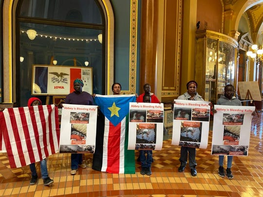 "Dozens of South Sudanese Iowans and allies gathered at the State Capital on Feb. 22, 2020 for a peaceful ""Abyei Is Bleeding"" rally protesting against recent violence in Abyei, a long disputed region between Sudan and South Sudan."