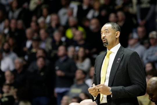 Michigan coach Juwan Howard during the first half on Saturday, Feb. 22, 2020, in West Lafayette, Indiana.