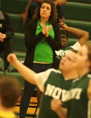 Novi teacher Amanda Squires is an assistant coach for Novi's unified basketball team, watches the team play