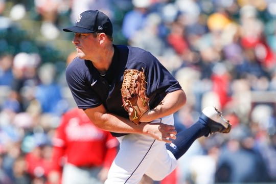 Tigers pitcher Jordan Zimmermann throws a pitch during the first inning against the Phillies on Saturday, Feb. 22, 2020, at Publix Field at Joker Marchant Stadium in Lakeland, Florida.
