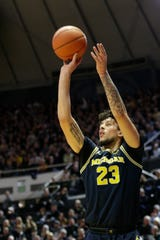 Michigan forward Brandon Johns Jr. goes up for 3 during the first half on Saturday, Feb. 22, 2020, in West Lafayette, Indiana.