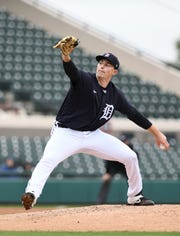 Tigers non-roster pitcher Tarik Skubal works in the first inning.