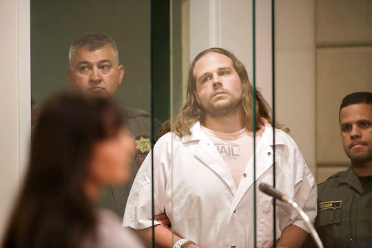 In this June 7, 2017 file photo, Jeremy Christian appears in court at Multnomah County Circuit Court in Portland, Ore.