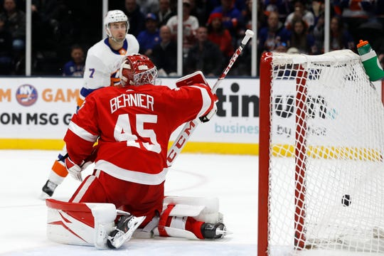 New York Islanders right wing Jordan Eberle (7) watches as his second goal of the night goes into the net past Detroit Red Wings goaltender Jonathan Bernier during the second period.
