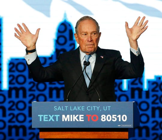 Democratic presidential candidate and former New York City Mayor Mike Bloomberg gestures as he speaks during campaign event, Thursday, Feb. 20, 2020, in Salt Lake City.