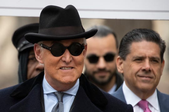 Roger Stone arrives for his sentencing at federal court in Washington, Thursday, Feb. 20, 2020.
