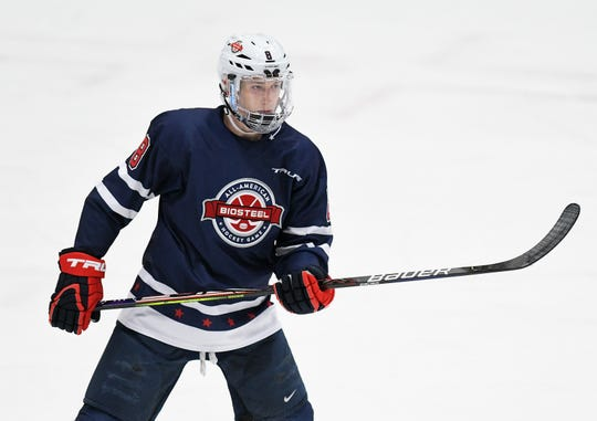 Jake Sanderson had seven goals and 22assists in 47gamesin his second season withUSA Hockey's development program this year. (Robin Buckson/Detroit News)