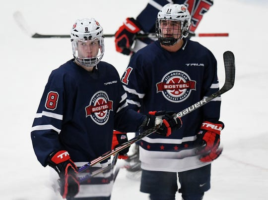 Team Knuble's Jake Sanderson (8) and Hunter Strand in the second period.  Team Gomez vs Team Knuble in the 2020 Biosteel All-American Game at USA Hockey Arena in Plymouth, Mich. on Jan. 20, 2020.  Team Knuble wins, 6-1.