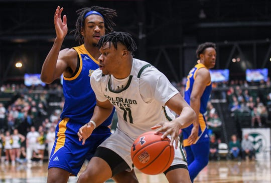 Colorado State basketball player Dischon Thomas against San Jose State at Moby Arena on Saturday, Feb. 22, 2020.