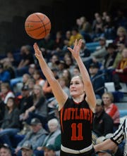 Roy-Winifred's Olivia Geer shoots in Friday's semifinal game against DGS during the District 8C Basketball Tournament in Great Falls.