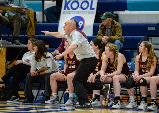 Belt coach Jeff Graham directs his players on the floor during their semifinal game against Tri-City at the District 8C Basketball Tournament on Friday in Great Falls.