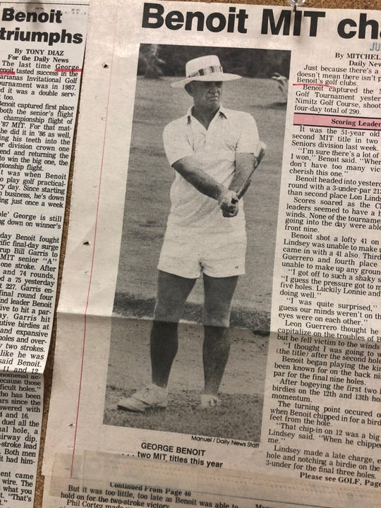 In this article and photo from 1986, the late George Benoit eyes an iron shot at the Admiral Nimitz Golf Course. Benoit died in early February at the age of 84.