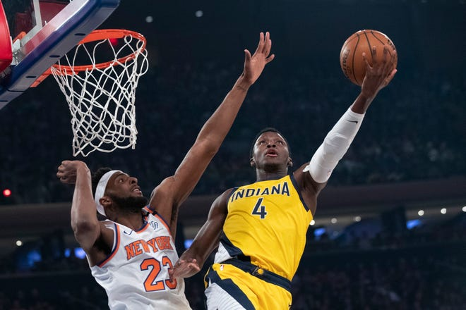 Victor Oladipo of the Indiana Pacers against the New York Knicks on Feb. 21.