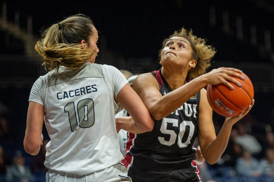 IUPUI forward/center Macee Williams battles for position from IUPUI WBB vs Butler on November 20, 2019 at Hinkle Fieldhouse in Indianapolis, IN.