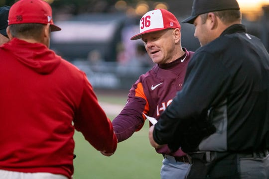 "Virginia Tech's coach John Szefc, a former UL assistant, wore a ""36"" Tony Robichaux cap at home plate before Friday night's 2-0 Ragin' Cajuns win over the Hokies."