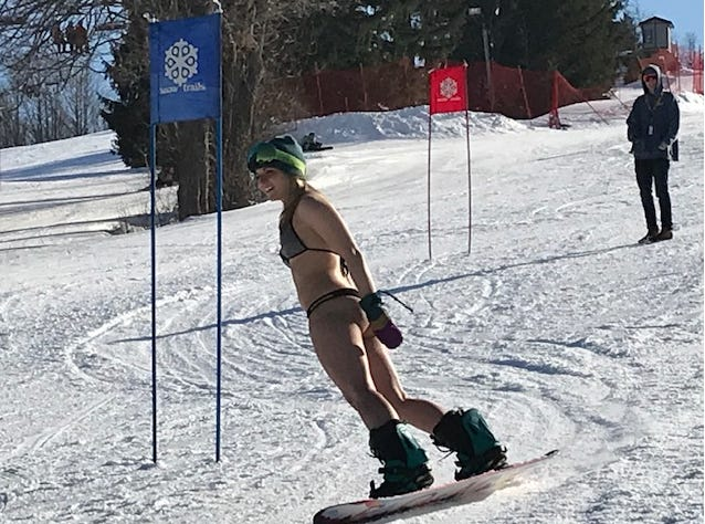 This woman was among the bikini racers Saturday at Snow Trails.