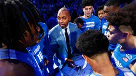 A pep talk from some Memphis coaches, including Hardaway