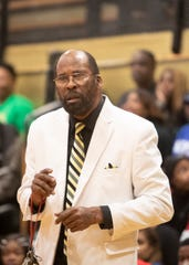 Whitehaven boys basketball head coach Fred Horton on the sideline during a basketball game at Whitehaven High School on Friday, February 21, 2020.