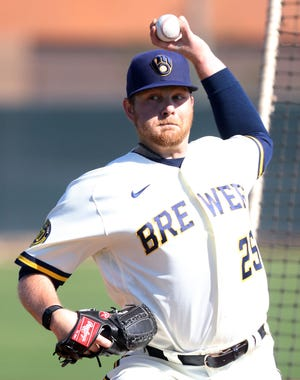 Brewers starting pitcher Brett Anderson is pitching for his sixth team.