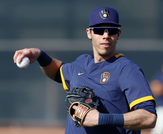 Christian Yelich works out Friday afternoon at spring training in Phoenix.