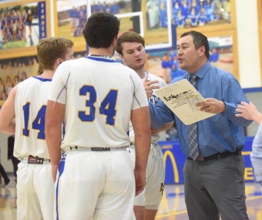 Mountain Home coach Josh Fulcher instructs his team during a recent game.