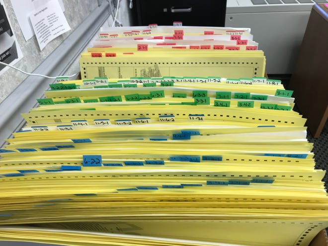 Copies of sample ballots are shown in the Baxter County Clerk's Office on Friday afternoon. There are 192 different ballot styles in Baxter County alone; 64 different Democratic ballots (in blue), 64 different Nonpartisan ballots (in green) and 64 different Republican ballots (in red).