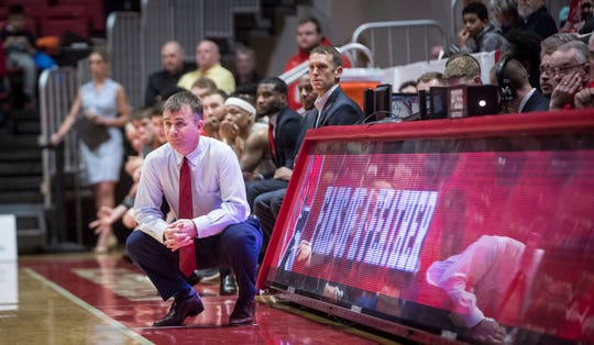 Ball State coach James Whitford watches as the Cardinals beat Eastern Michigan 64-55 on Feb. 22 inside Worthen Arena.