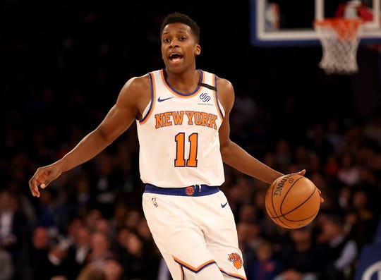 Frank Ntilikina #11 of the New York Knicks directs his teammates in the second half against the Washington Wizards at Madison Square Garden on February 12, 2020 in New York City.The Washington Wizards defeated the New York Knicks 114-96.