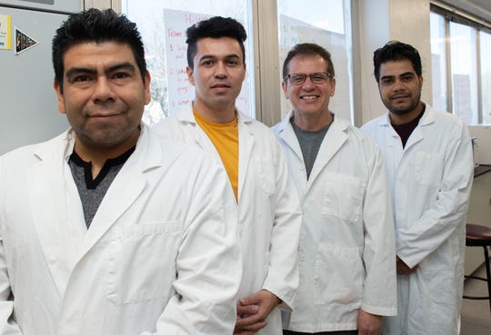 From left, Govinda Sapkota, Victor Velazquez-Martinez, Efren Delgado and Dante Rojas-Barboza stand in the new food microbiology lab at Gerald Thomas Hall on the New Mexico State University campus. Sapkota, Velazquez-Martinez and Rojas-Barboza are NMSU graduate students who are conducting research in the new lab under the guidance of Delgado, assistant food science and technology professor in the Department of Family and Consumer Sciences.