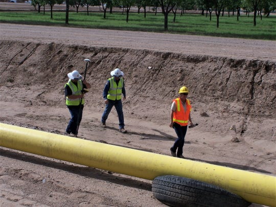 A high-pressure pipeline bringing natural gas to Las Cruces.