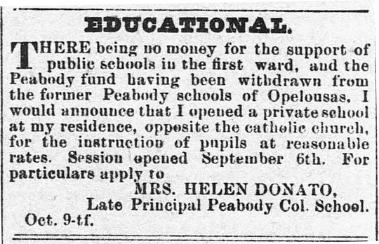 Advertisement in the Opelousas Courier newspaper on October 30, 1880 about the opening of Mrs. Helen Donato's School in Opelousas.