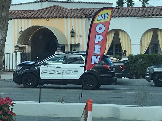 Palm Springs police closed a portion of North Palm Canyon Drive following a traffic collision on Saturday, Feb. 22, 2020.