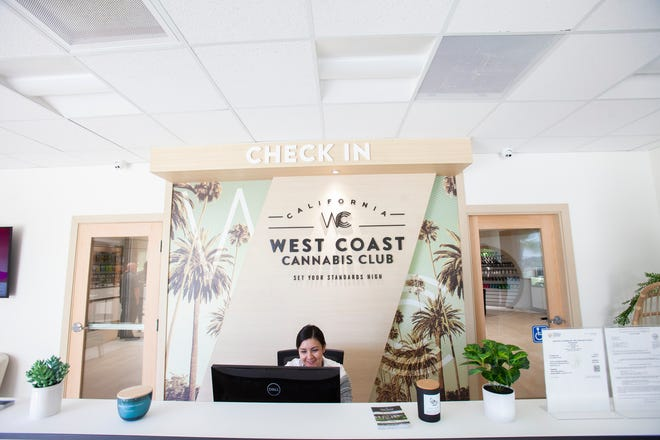 The front desk at the newest dispensary from West Coast Cannabis Club, which has opened up in the former KESQ studios in Palm Desert and Melanie Place, photographed on Feb. 20,2020.