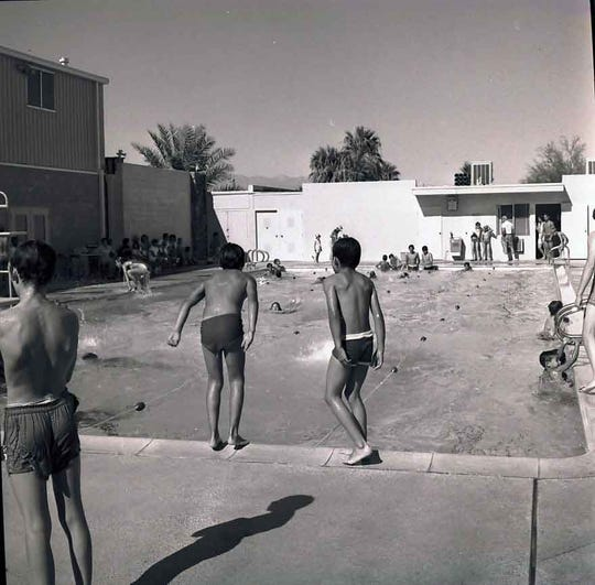 Dedicated April 15, 1962, the Pathfinder Pool at the Palm Springs Boys' Club became a source of enjoyment for all. Funds raised by the Pathfinders philanthropic organization paid for the pool's construction.