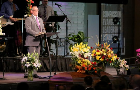 Pastor Rob Goodwin speaks during the public funeral service for Dr. David Duffner at Southwest Church in Indian Wells, Calif., on February 22, 2020.