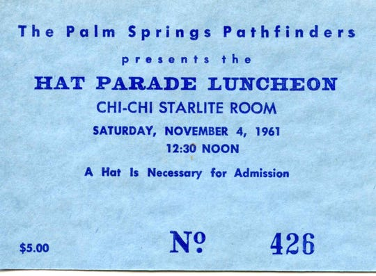 A ticket for the Hat Parade at the Chi Chi Starlite Room, requiring a hat for admission.