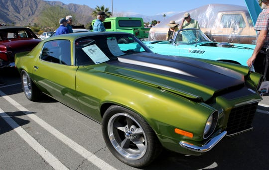A 1972  Chevrolet Camaro is on display at the McCormick's Classic Car Auction in Palm Springs, Calif., on Friday, February 21, 2020.