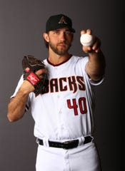 Arizona Diamondbacks pitcher Madison Bumgarner poses for a photo on media day on Feb. 21, 2020 at Salt River Fields at Talking Stick in Scottsdale, Ariz.
