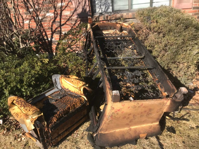 A fire on North Bridge Street Saturday morning claimed the life of a 68-year-old resident of Bridge Park Apartments. A recliner and couch damaged in the blaze are shown here.