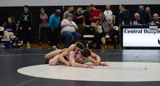 Biglerville sophomore Levi Haines earned a 19-4 technical fall to win his second straight District 3 title at Central Dauphin East Saturday.