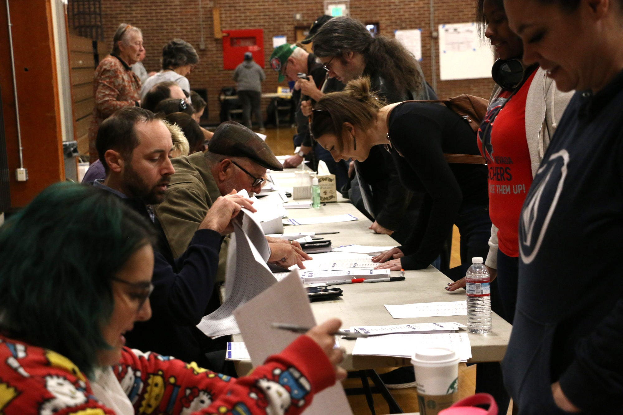 Voters gather at Sparks High School to participate in the 2020 Nevada Democratic caucus on Feb. 22, 2020.
