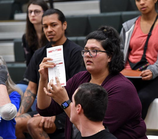 Kaitlyn Hernandez, who came in uncommitted, sides with Bernie after intital caucus vote at Hug High in Reno, Nevada on Feb. 22, 2020.