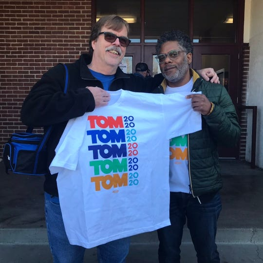 A guy named Tom who's actually for Joe was given a Tom shirt by a guy named Tommy. Got it? Joe Biden supporter Tom Payne of Sparks and Tom Steyer supporter Tommy McDonald of the Bay Area were volunteering for their candidates outside Sparks High School on Saturday, Feb. 22.