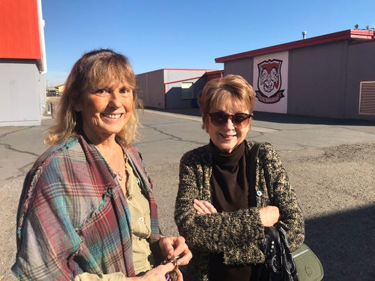 Caryn Summers, 68, (left) and Terry Woods, 73, both of Reno, are first-time caucus-goers. They arrived early at Wooster High School in Reno for the 2020 Nevada Caucuses on Saturday, Feb. 22, 2020. They both are considering Amy Klobichar and Elizabeth Warren.