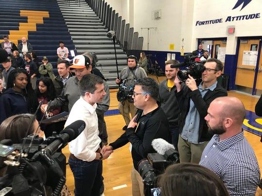 Pete Buttigieg greets supporters at Sierra Vista High School in Las Vegas prior to the Nevada Democratic Caucuses on Saturday, Feb. 22, 2020.
